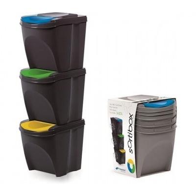 Zestaw 3 pojemników na śmieci SORTIBOX  - antracyt