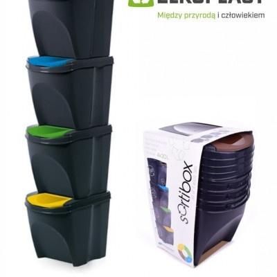 Zestaw 4 pojemników na śmieci SORTIBOX  - antracyt