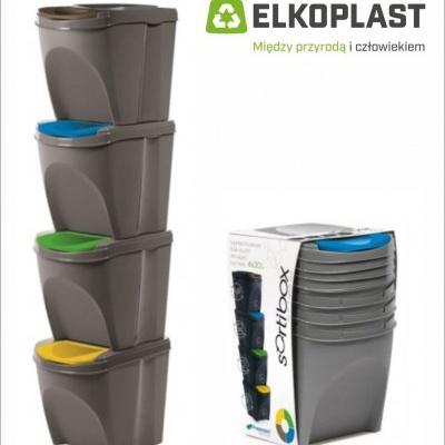 Zestaw 4 pojemników na śmieci SORTIBOX  - szary