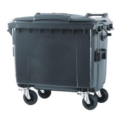 Plastikowy kontener na odpady komunalne 660 l, czarny