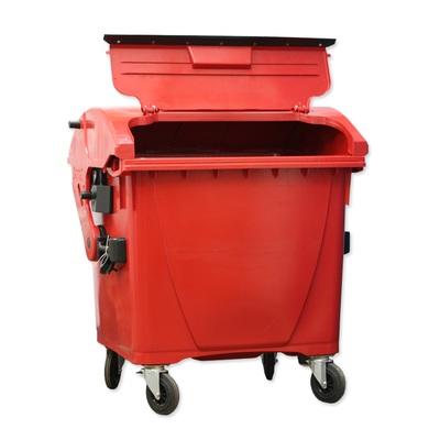 Plastikowy kontener na kółkach z tworzywa 1100 l, wieko we wieku, czerwony