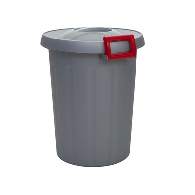 Kosz na śmieci do segregacji odpadów OKEY 25 l - szary pojemnik, żółte uchwyty